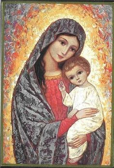 Beautiful Holy Mother Mary and our Lord Jesus as a baby.