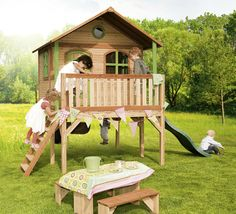 playhouse with sandbox underneath or a rock box with water wall feature Playhouse Outdoor, Wooden Playhouse, Rock Box, Picnic Blanket, Outdoor Blanket, Water Walls, Outdoor Furniture Sets, Outdoor Decor, Sandbox