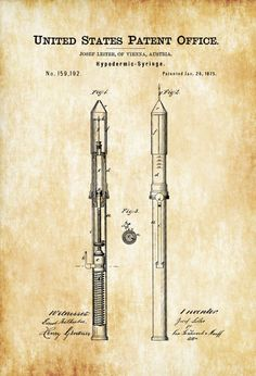 Hypodermic Syringe Patent - Decor Doctor Office Decor Nurse Gift Medical Art Medical Decor Patent Print Surgeon Gift Doctor Gift by PatentsAsPrints Doctors Office Decor, Doctor Office, Medical Art, Medical Design, Edit My Photo, Patent Drawing, Doctor Gifts, Draw On Photos, Photo Printer