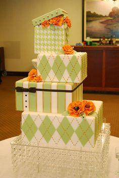 Sage and White Square Box / Argyle / Houndstooth / Striped Wedding Cake by Gateaux Inc, Minneapolis, Minnesota