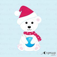 Christmas Polar Bear Holding a Christmas Ornament  by Digimajigs, $2.00