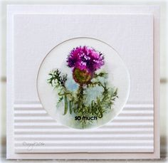 Here´s a card with the new stamp set in Technique Tuesday´s stamp club Greenhouse Society ! Love this thistle! Colored with watercol...