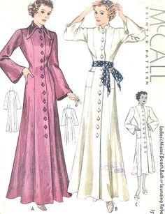 1930s BEAUTIFUL Beach Coat, Bath Robe, Lounging Robe, Dressing Gown Pattern McCALL 9052 Two Style s Bust 34 Vintage Sewing Pattern