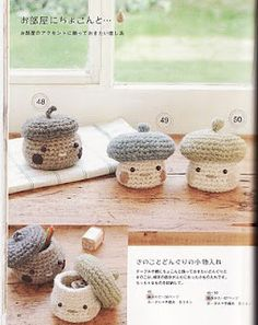 Little crocheted mushroom pots!