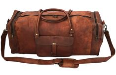 Amazon.com | Leather 24 Inch Square Duffel Travel Gym Sports Overnight Weekend Leather Bag BY VINTAGE COUTURE | Travel Duffels