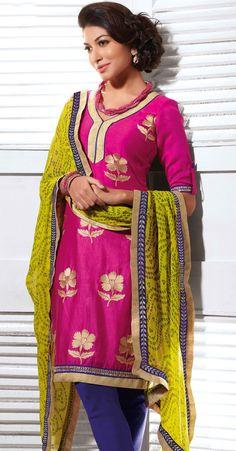Designer Pink Cotton and Silk Churidar Suit - IG331203USD $ 74.09