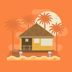 How to Create a Tropical Bungalow on a Palm Beach in Adobe Illustrator