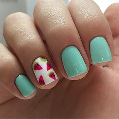 Cute watermelon nails #KidsNails
