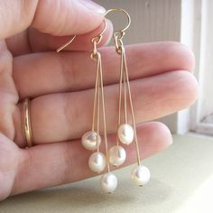 Mod coin pearl earrings freshwater coin pearls by KGarnerDesigns, $20.00