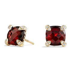 David Yurman 8Mm Châtelaine Garnet Earrings With Diamonds (360 KWD) ❤ liked on Polyvore featuring jewelry, earrings, gold, facet jewelry, diamond earrings, pave diamond jewelry, garnet jewellery and earring jewelry