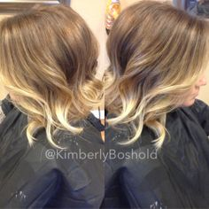 Perfect proof that a beautiful honey balayage ombré can be worn on short hair. #hairbykimberlyboshold