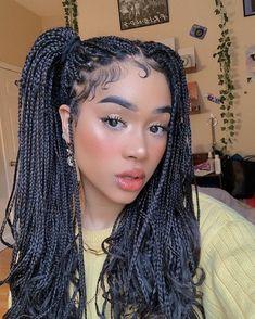 Black Girl Braided Hairstyles, Pretty Hairstyles, Cute Box Braids Hairstyles, Curly Hair Styles, Natural Hair Styles, Box Braids Styling, Baddie Hairstyles, Braids For Black Hair, Aesthetic Hair