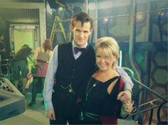Matt Smith and his Mum on the TARDIS set after Matt filmed his final scenes as the Eleventh Doctor in Cardiff on Saturday, Oct 5, 2013.