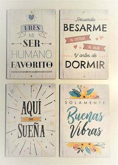 Cartelito Frases Cuadros Lamina Frase Madera Set X4 - $ 275,00 en Mercado Libre Diy Arts And Crafts, Paper Crafts, Diy Crafts, Recycled Crafts, Vintage Frases, Bedroom Posters, Decoupage Vintage, Lettering Tutorial, Diy Gifts For Boyfriend