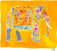 Orange and Yellow Elephant Indian Elephant, Elephant Art, Happy Colors, True Colors, The Magic Faraway Tree, Mellow Yellow, Rainbow Colors, Artsy Fartsy, Decorative Accessories