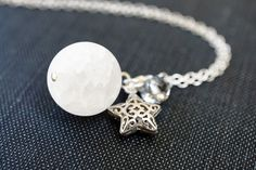 Necklace Full Moon Pendant Starry Necklace by storygirlcreations
