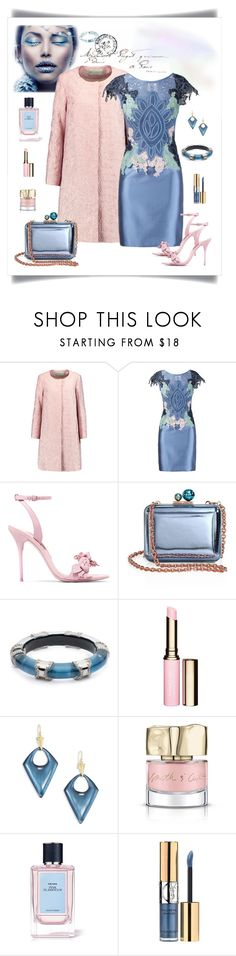 """""""Martha Madeiros Lace Patchwork Adna Dress"""" by romaboots-1 ❤ liked on Polyvore featuring Mary Katrantzou, Martha Medeiros, Sophia Webster, Alexis Bittar, Clarins, Smith & Cult, Prada and Yves Saint Laurent"""