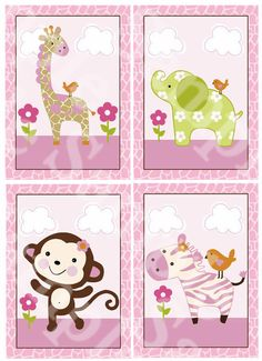 "A set of 4 ""Jungle Jill / Girl Animals"" 5x7 inch Nursery Art Prints"