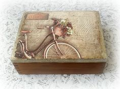 Wooden tea box jewelry box decoupage box by CarmenHandCrafts Decoupage Box, Decoupage Vintage, Wooden Tea Box, Wooden Boxes, Altered Cigar Boxes, Sage Color, Pretty Box, Painted Boxes, Painting On Wood
