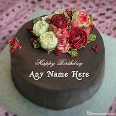 Sweet Chocolate Happy Birthday Wishes Cake With Name Edit Happy Birthday Wishes Cake, Birthday Cake, Cake Templates, Cake Name, Names, Chocolate, Sweet, Cake Designs, Candy
