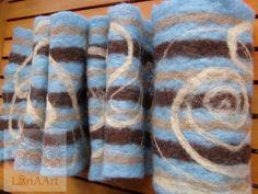 Felted wool warm scarf handmade  sky blue and chocolate brown by LanAArt