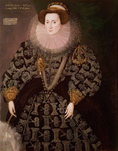 Circa1589 Frances Clinton, Lady Chandos by Hieronymus Custodis-EXCERPT: 'Lady Frances' head appears to float on her large ruff. Her sleeves, bodice, and under-skirt are adorned with insect and column motifs.' Stunning!