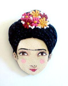 Felt brooch - Frida Kahlo....love this!!!!