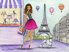 (Here's a look at the first painting before it. Freedom Girl, Eiffel Tower Painting, Paris In Spring, Paris Painting, Zeina, Fashion Wall Art, Diy Wall Art, Photo Illustration, Lany