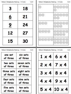 Here's a set of multiplication matching cards that includes fact cards, products, sets of tally marks, and the number sentence in words.