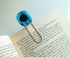 Bookmark - Blue with Black Striped Fused Glass created by GlitterbirdGlamour $16 #bookmark #fused glass