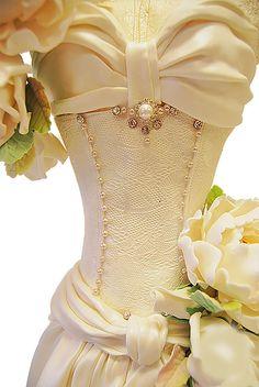 Stunning Wedding Dress Cakes For Your Bridal Shower ❤ See more: http://www.weddingforward.com/wedding-dress-cakes/ #weddings