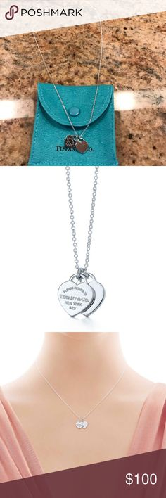 """Mini double heart tag pendant from Tiffany & co. Inspired by the iconic key ring first introduced in 1969, the Return to Tiffany collection is a classic reinvented. A delicate duo of engraved tags on a simple link chain exudes sophistication and elegance Sterling silver On a 16"""" chain Tiffany & Co. Jewelry Necklaces"""