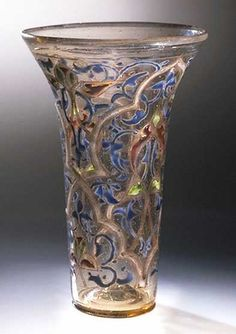 """""""The Luck of Edenhall,"""" a 13th-century Syrian beaker, in England since the Middle Ages. For most of the Middle Ages, Islamic glass was the most sophisticated in Eurasia, exported to both Europe and China."""
