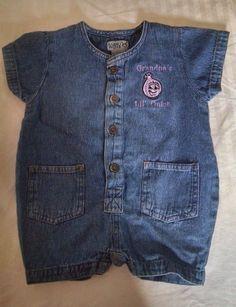 Rabbit Skins Baby Girl Romper 12M Denim Purple Embroidery Grandpas Lil Onion  #RabbitSkins #Everyday