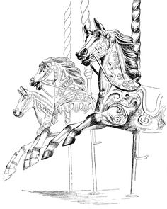 """""""Carousel"""" illustration from """"The Unsophisticated Arts"""" written and illustrated by Barbara Jones (Little Toller Books)"""
