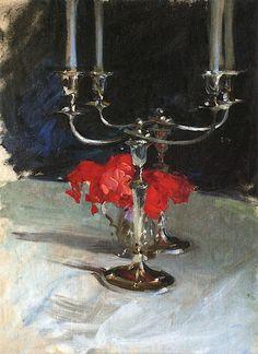 The Athenaeum - Candelabra with Roses (John Singer Sargent - )