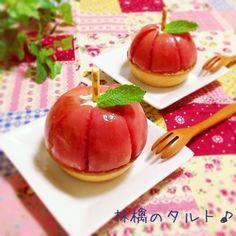 りんごのタルト♪ もっと見る Japanese Street Food, Japanese Snacks, Japanese Sweets, Small Desserts, Cute Desserts, Dessert Recipes, Sweet Magic, Sweet Pastries, Pastry And Bakery