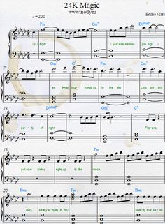 Bruno Mars — 24K Magic Download PDF Piano Sheet Music