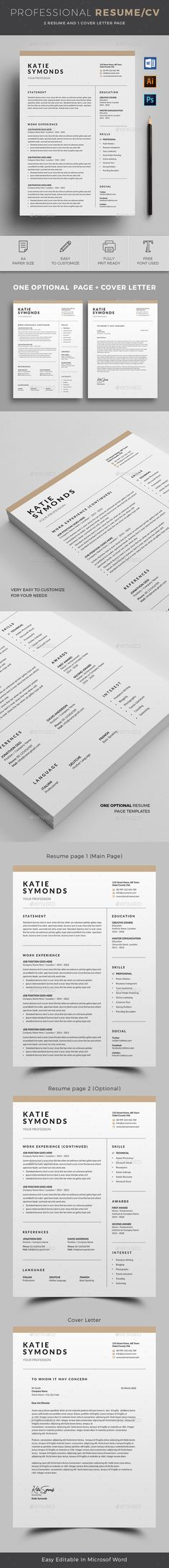 Buy Resume by on GraphicRiver. 2 Page Professional Resume/cv template to help you land that great job. Free Cv Template Word, Simple Resume Template, Modern Resume Template, Resume Templates, Resume Words, Resume Cv, Free Resume, Cv Design, Design Resume