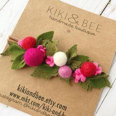 Your place to buy and sell all things handmade Felt Headband, Baby Flower Headbands, Felt Flowers, Fabric Flowers, Felt Roses, Bee Creative, Felt Crown, Needle Felting Tutorials, Felt Hearts