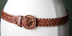 Vintage Boho Brown Genuine Leather Braided Belt Size by 601VINTAGE, $30.00
