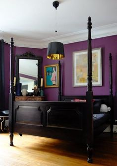 Plum & Black:  Bold and intimate, this palette is sexy but practical. The white ceiling and natural light ensures that the room doesn't feel too closed in.  Color Warriors: Reader Rooms with Audacious Color — Best of 2014 | Apartment Therapy