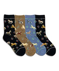 Love this Black & Camel Heather Horse 4-Pair Crew Socks Set on #zulily! #zulilyfinds