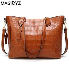 MAGICYZ Women Famous brand designer Luxury leather handbags women messenger  bag Ladies Shoulder bags Crossbody crocodile d8b46a653f5a3