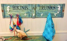 New Bikinis and Trunks hook rack by CastawaysHall.  One only!