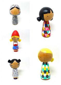 Handpainted Kokeshi peg dolls - never seen detail like this, wow.