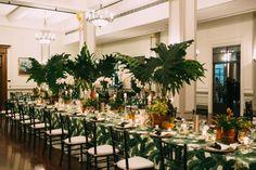 Peggie and Dave chose a beautiful green theme for their Botanical Brisbane garden wedding in Spring. Bridal Table, Wedding Table Centerpieces, Wedding Decorations, Table Wedding, Centrepieces, Wedding Ideas, Safari Wedding, Pre Wedding Party, Havanna Party