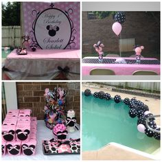 Minnie Mouse birthday party decor  Party city bags  Used gift wrap cut through middle as table runner