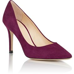 Barneys New York Suede Nataly Pumps (1.635 ARS) ❤ liked on Polyvore featuring shoes, pumps, purple suede pumps, pull on shoes, suede shoes, purple pumps and purple suede shoes