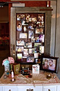 love the idea of hanging up photos - can use a corkboad instead Vintage Birthday, Mom Birthday, Birthday Bash, Birthday Ideas, Event Ideas, Party Ideas, Vintage Party Decorations, 1920s Party, Hanging Pictures